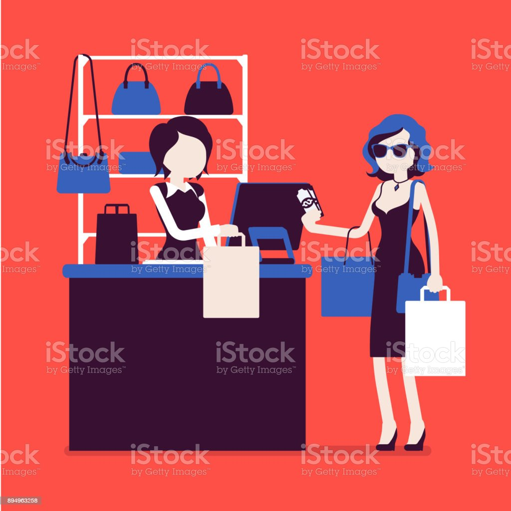 Woman paying for shopping vector art illustration
