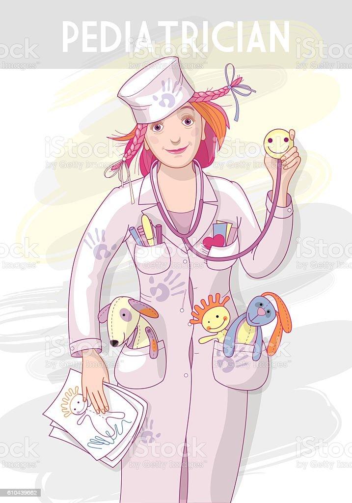 Woman pediatrician vector art illustration