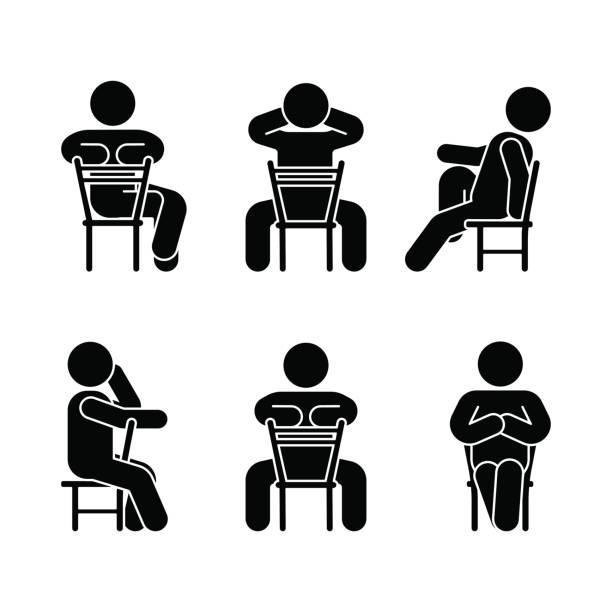 frau menschen verschiedenen sitzposition. körperhaltung strichmännchen. vektor-sitzenden person symbol symbol zeichen piktogramm auf weißem - stuhllehnen stock-grafiken, -clipart, -cartoons und -symbole