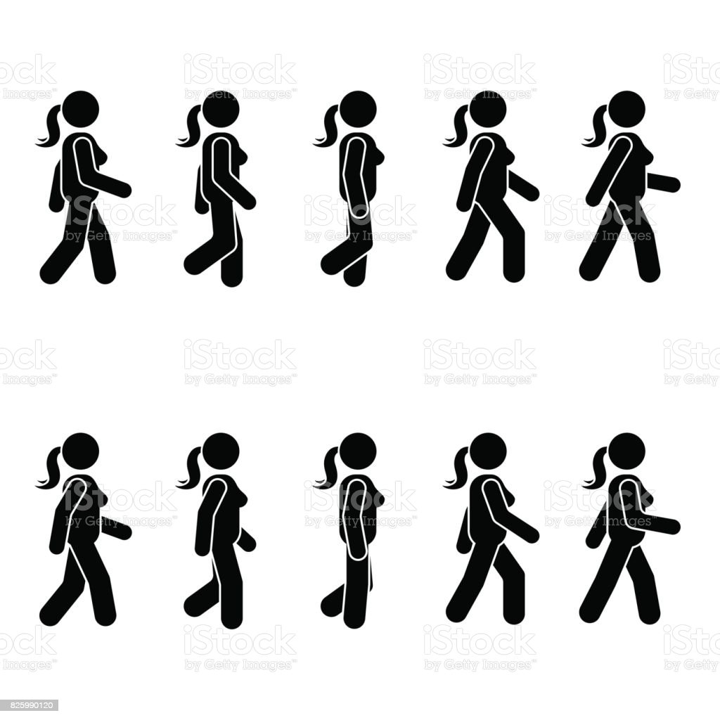 Woman people various walking position. Posture stick figure. Vector standing person icon symbol sign pictogram on white vector art illustration