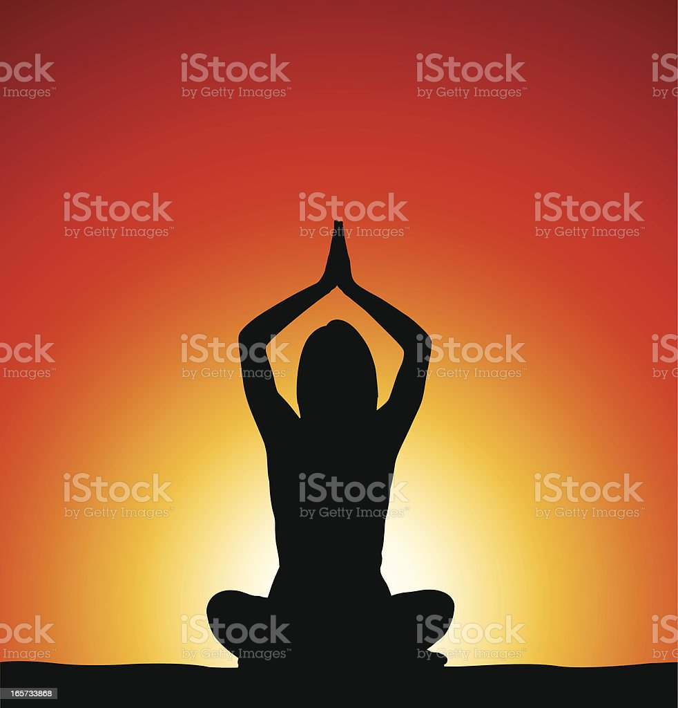 Woman perfoming yoga in front of sunrise royalty-free stock vector art
