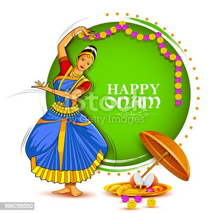 istock Woman performing Mohiniyattam dance for Happy Onam festival of South India Kerala background 996289550