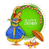 vector illustration of woman performing Mohiniyattam dance for Happy Onam festival of South India Kerala background