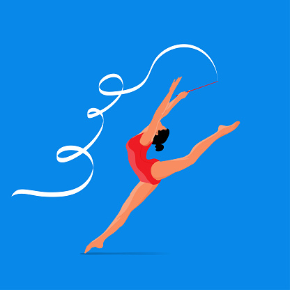 Woman performing rhythmic gymnastics with a ribbon ,isolated on blue background.