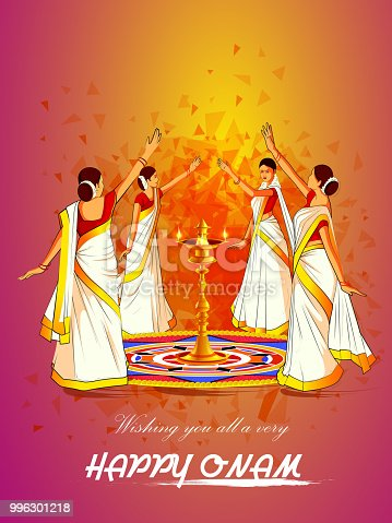 istock Woman performing Thirvathirakali dance for Happy Onam festival of South India Kerala background 996301218