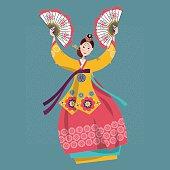 Woman performing traditional Korean fan dance. Korean tradition.