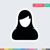 Woman Person Icon Vector Flat Color User Profile Avatar Pictogram