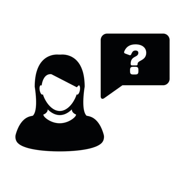 frau person symbol vektor mit fragezeichen glyphe piktogramm symbol - chefin stock-grafiken, -clipart, -cartoons und -symbole
