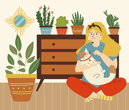 Woman petting her cat in comfy room with green plants, flat vector illustration.