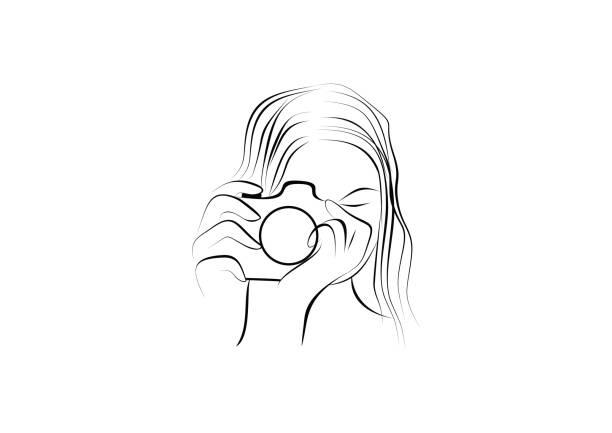 woman photography illustration - wedding photographer stock illustrations