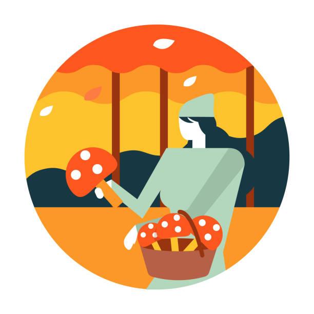 bildbanksillustrationer, clip art samt tecknat material och ikoner med kvinna plocka svamp i höst skog. - höst plocka svamp