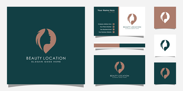 Woman place logo inspiration . feminine pin logo design template . woman finder logo and business card design