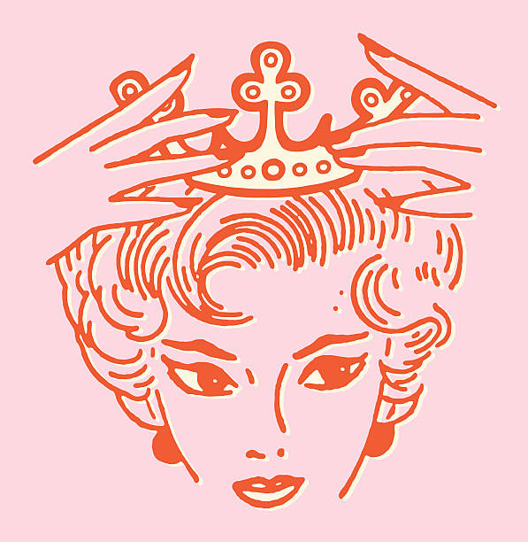 Woman Placing Crown on Her Head vector art illustration