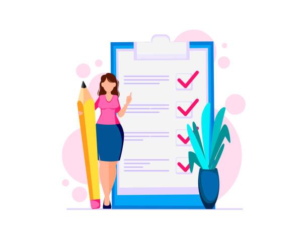 illustrazioni stock, clip art, cartoni animati e icone di tendenza di woman planning month, to do list - to do list