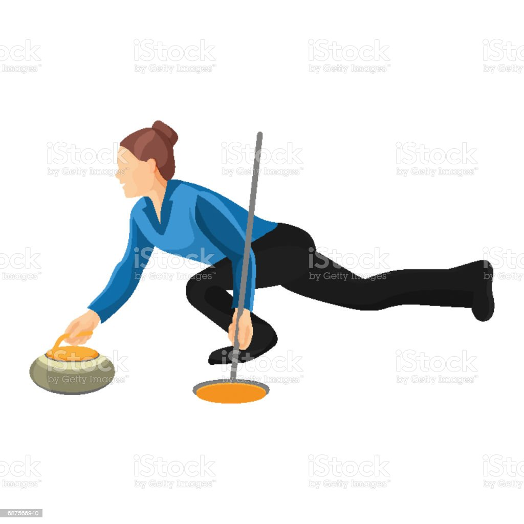 Woman play curling vector illustration isolated on white background. vector art illustration