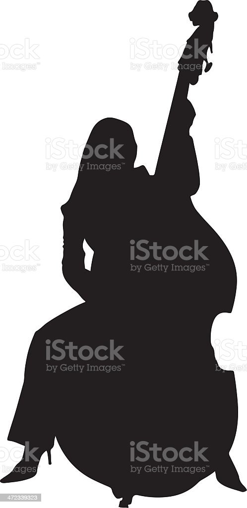 Woman Playing A Double Bass Silhouette Stock Vector Art More