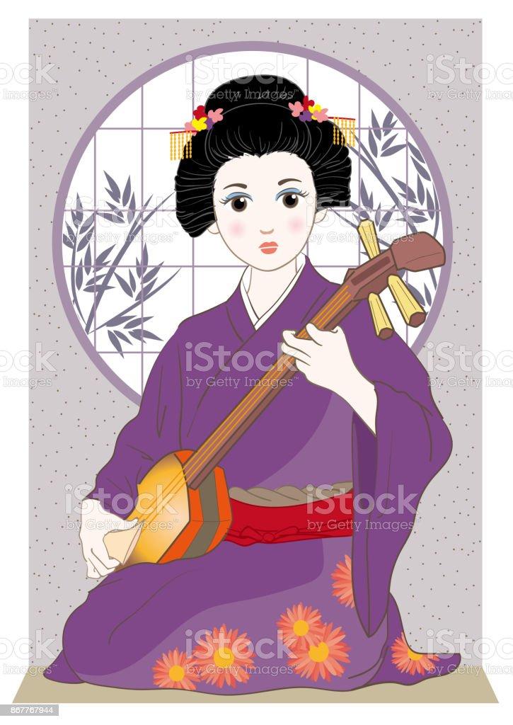 A Woman playing a shamisen vector art illustration