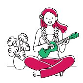 Simple illustration of a woman playing a ukurere with a smile