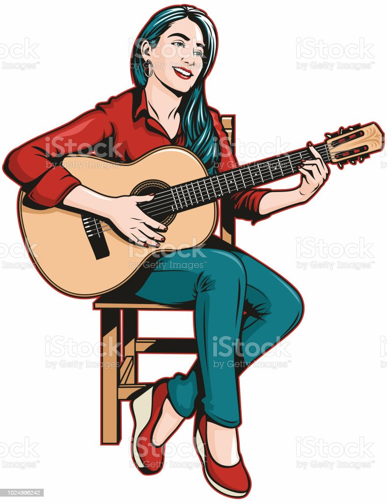 Woman Playing Acoustic Guitar vector art illustration