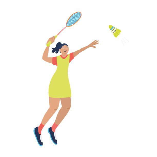 woman playing badminton. - badminton smash stock illustrations