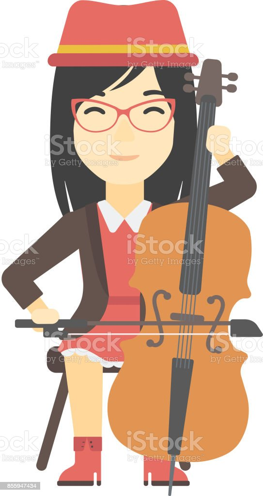 Woman playing cello vector art illustration