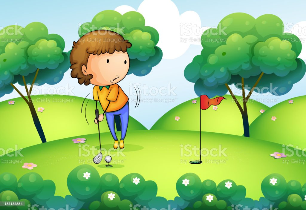 woman playing golf at the top of hill royalty-free stock vector art