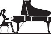 Woman playing piano on stage - vector illustration