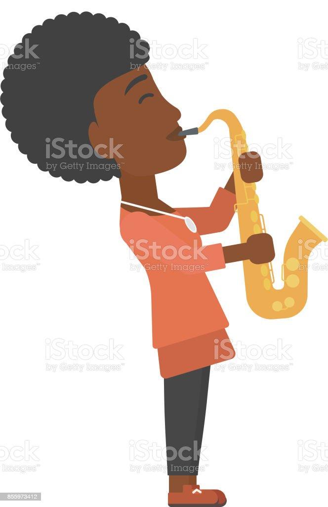Woman playing saxophone vector art illustration