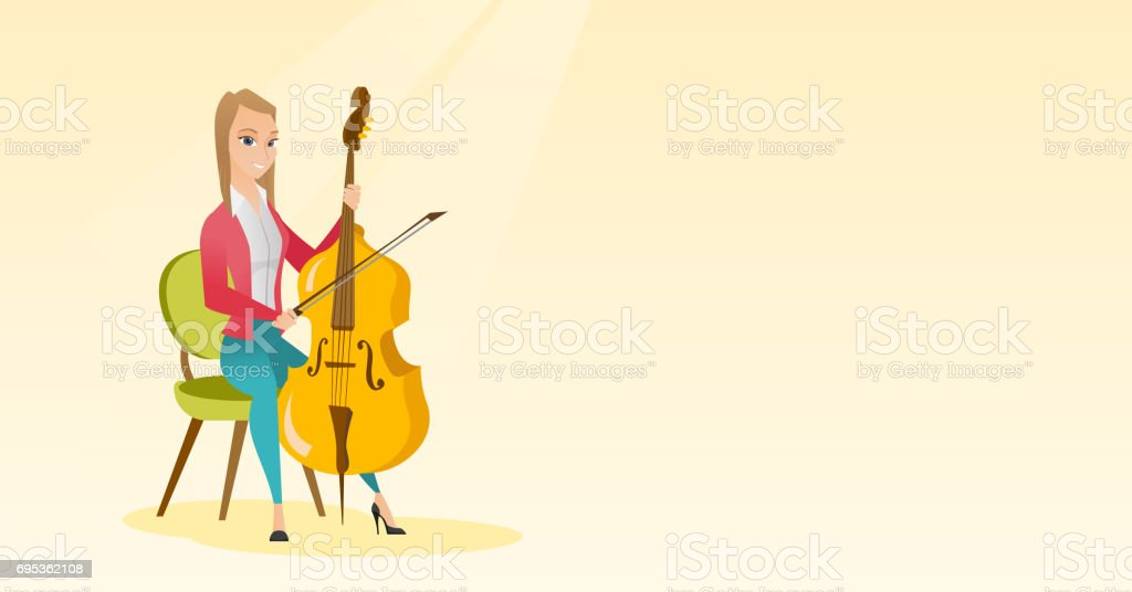 Woman Playing The Cello Vector Illustration Royalty Free Stock