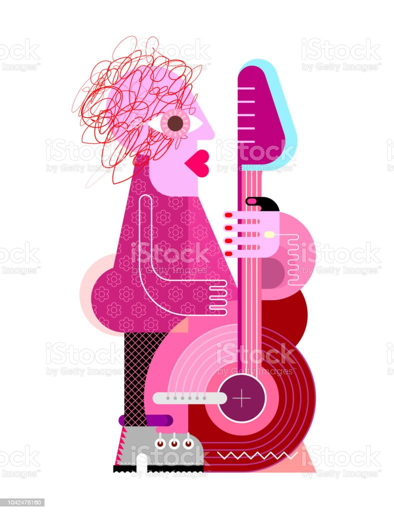 Woman Playing the Guitar vector art illustration