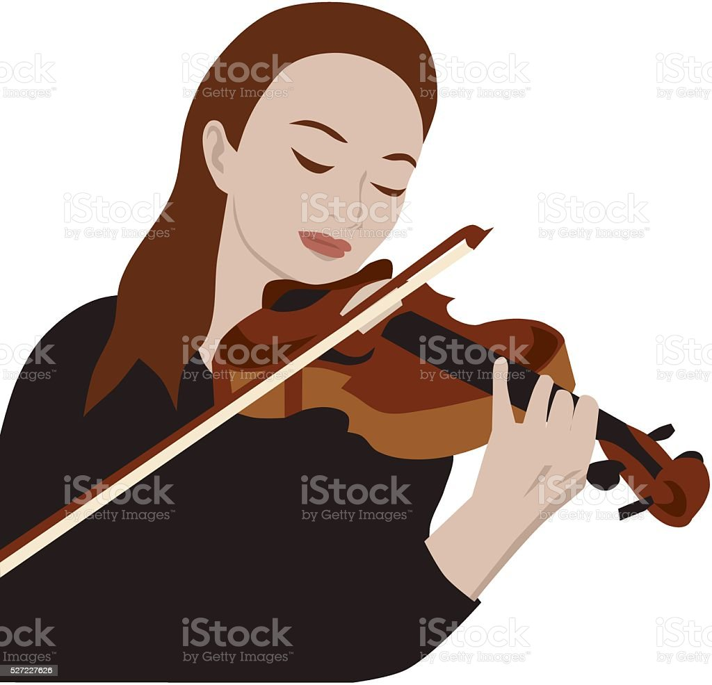 Woman playing violin vector art illustration