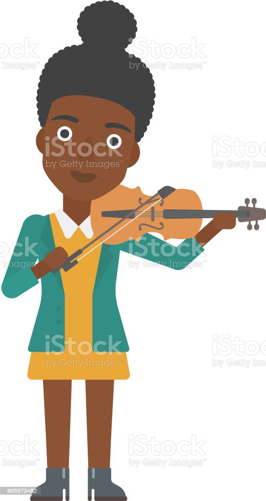 Woman playing violin vector art illustration