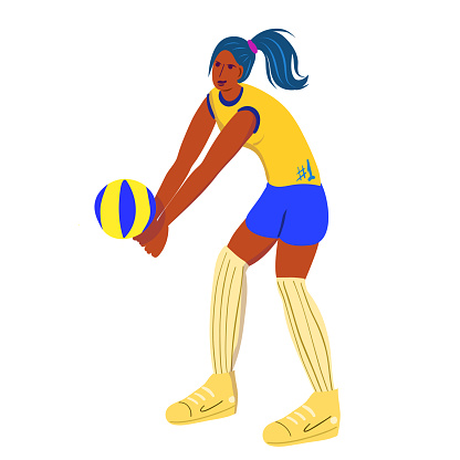 Woman playing volleyball.Woman takes a pass.Volleyball