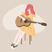 Woman plays the guitar at home.Doodle art concept,illustration painting