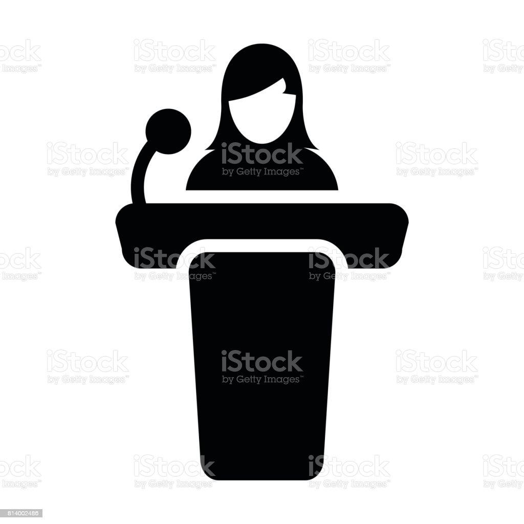 公共のスピーチのグリフ ピクトグラム シンボルを女性表彰台アイコン ベクトルの人 ベクターアートイラスト