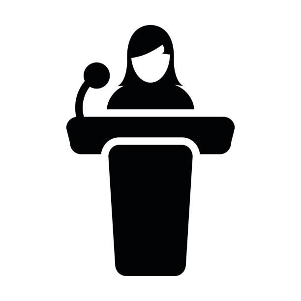 ilustrações, clipart, desenhos animados e ícones de mulher pódio ícone vector pessoa no discurso público glifo pictograma símbolo - político