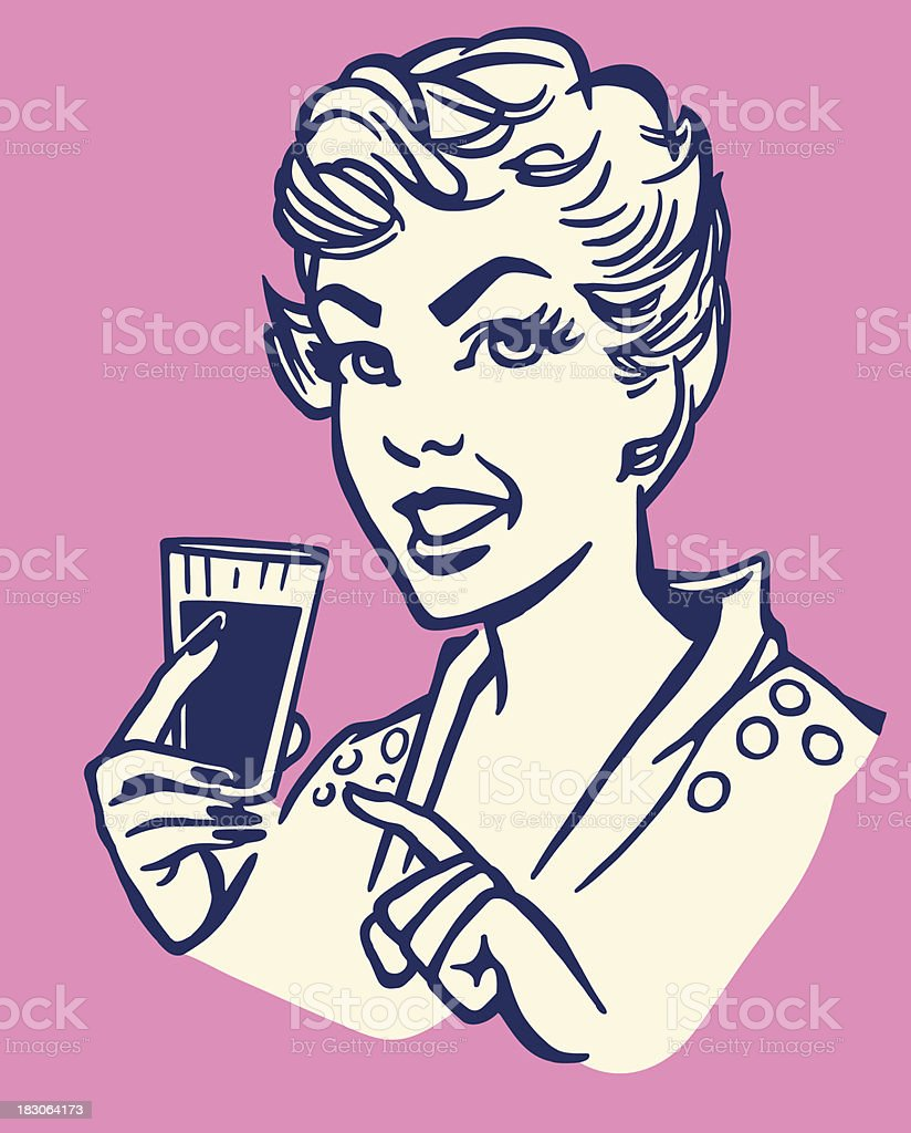 Woman Pointing to a Beverage vector art illustration