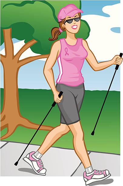 Woman Pole Walking vector art illustration