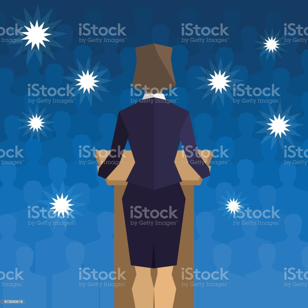 Woman politician behind the podium back to the people vector art illustration