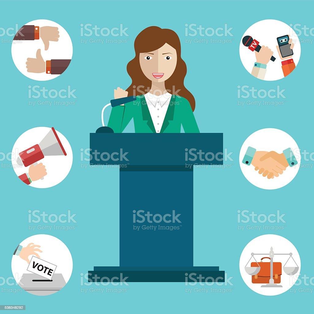 Woman politician having a speech, politics icons vector art illustration