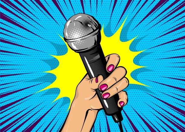 stockillustraties, clipart, cartoons en iconen met vrouw popart hand houden microfoon - zingen