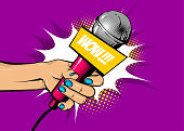 Woman pop art hand hold microphone wow