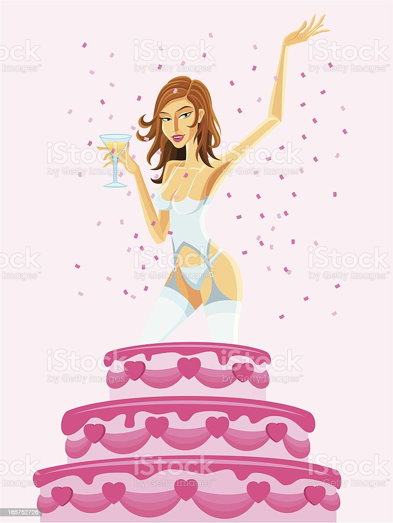 Woman Popping Out of a Birthday Cake royalty-free woman popping out of a birthday cake stock vector art & more images of adult