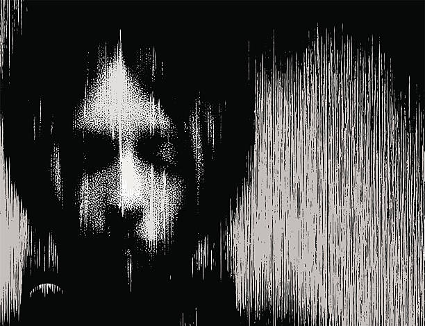 Woman Portrait Ghost Black and white illustration of a spooky ghost woman. goth stock illustrations