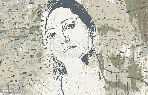 istock Woman portrait over stained painted background 1309117681