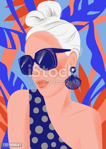 istock Woman portrait with sunglasses on summer tropical background. 1221656047