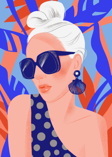 ilustrações de stock, clip art, desenhos animados e ícones de woman portrait with sunglasses on summer tropical background. - só adultos