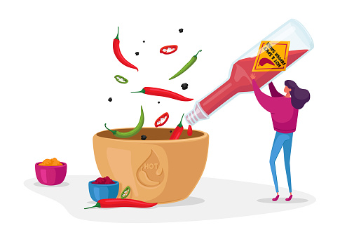 Woman Pouring Chilli Ketchup or Sauce from Glass Bottle to Bowl Cooking Spicy Meal. Seasoning Ingredient for Hot Food