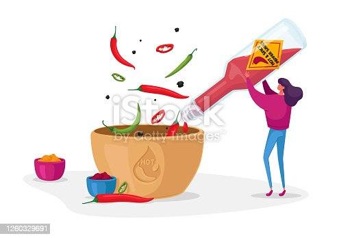 istock Woman Pouring Chilli Ketchup or Sauce from Glass Bottle to Bowl Cooking Spicy Meal. Seasoning Ingredient for Hot Food 1260329691