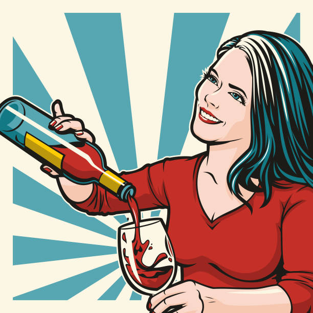 Woman Pouring Wine vector art illustration